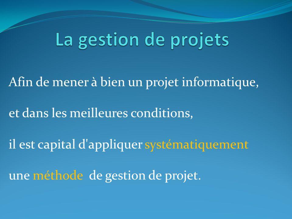 La gestion de projets Afin de mener à bien un projet informatique,
