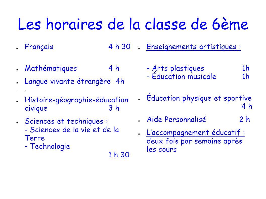 Les horaires de la classe de 6ème