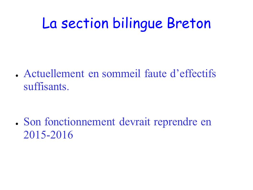 La section bilingue Breton