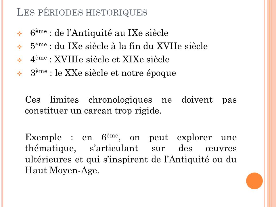 Les périodes historiques