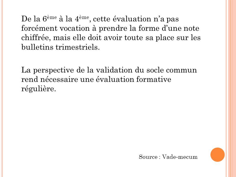 De la 6ème à la 4ème, cette évaluation n'a pas forcément vocation à prendre la forme d'une note chiffrée, mais elle doit avoir toute sa place sur les bulletins trimestriels. La perspective de la validation du socle commun rend nécessaire une évaluation formative régulière.