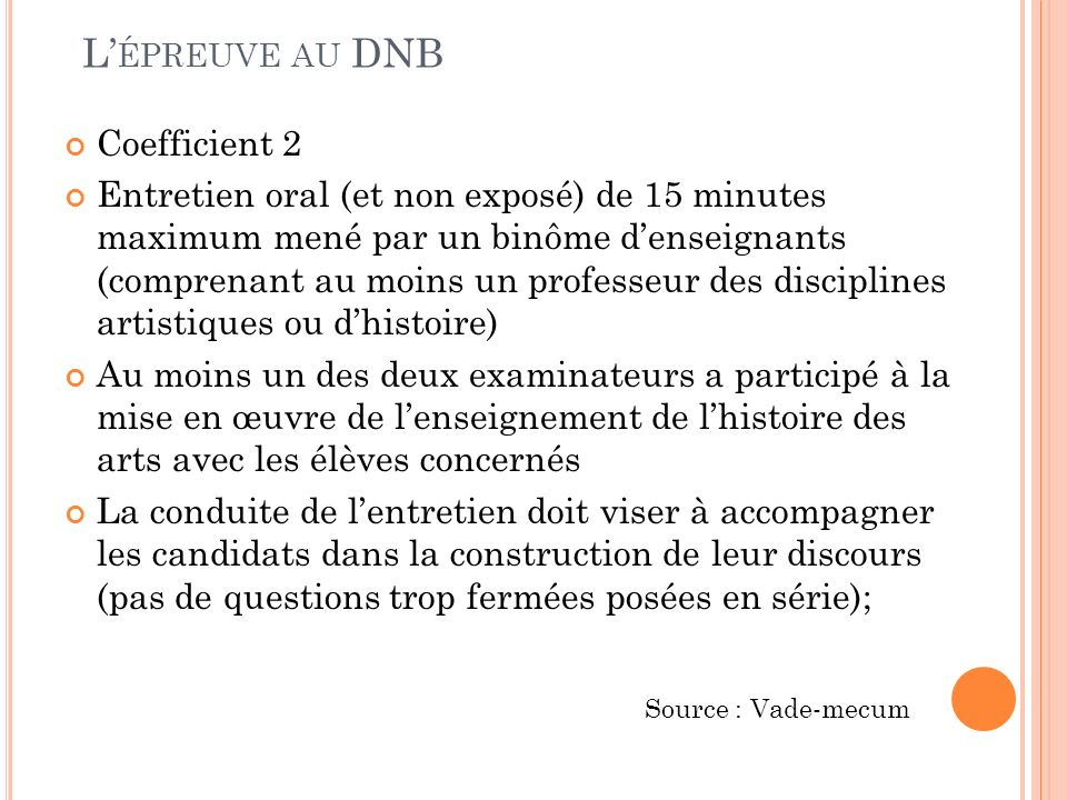 L'épreuve au DNB Coefficient 2