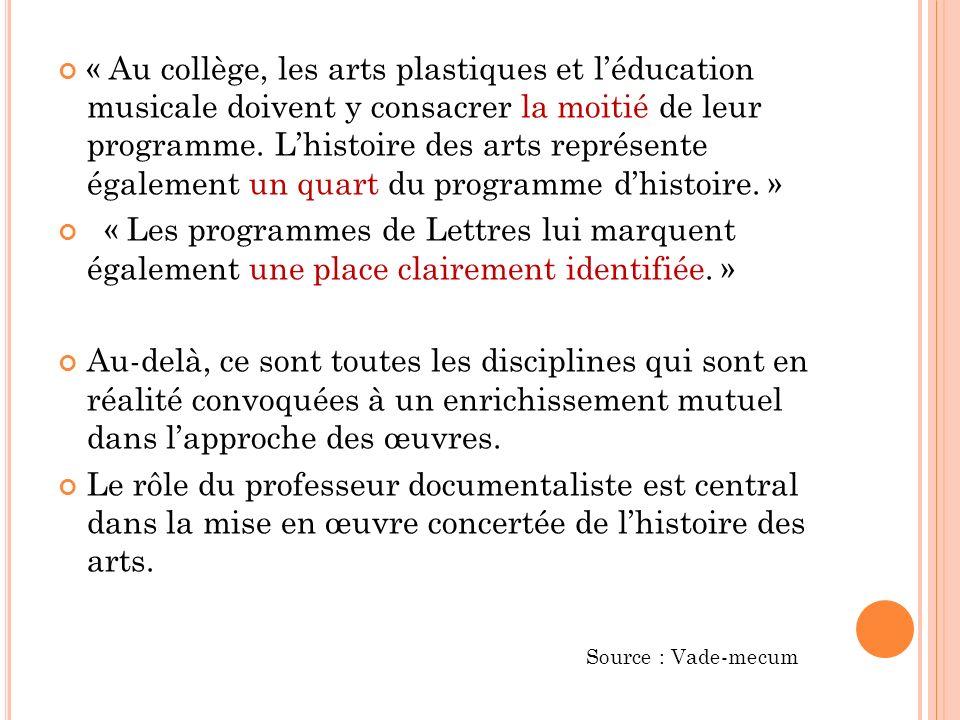 « Au collège, les arts plastiques et l'éducation musicale doivent y consacrer la moitié de leur programme. L'histoire des arts représente également un quart du programme d'histoire. »