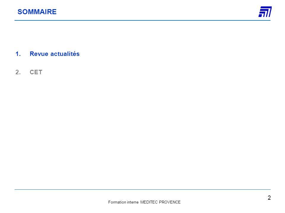 SOMMAIRE Revue actualités CET