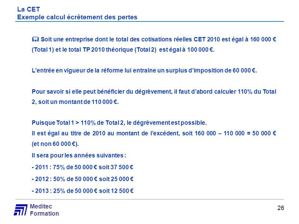 La CET Exemple calcul écrêtement des pertes