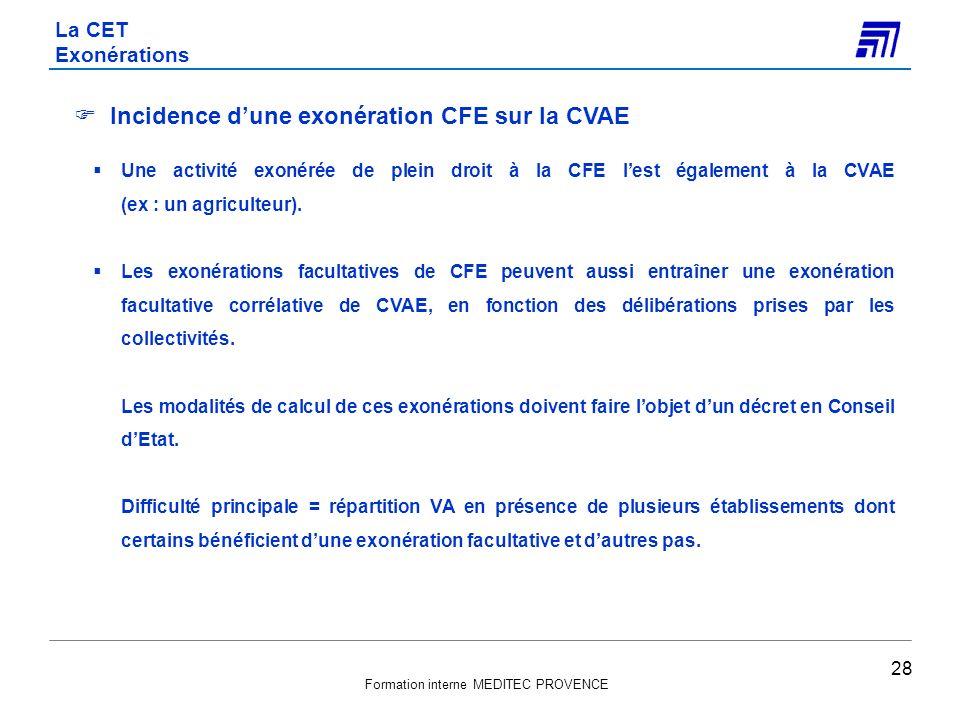 Incidence d'une exonération CFE sur la CVAE