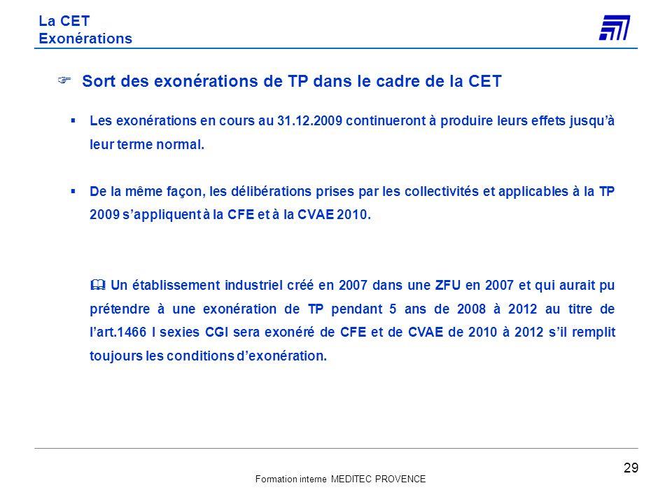 Sort des exonérations de TP dans le cadre de la CET