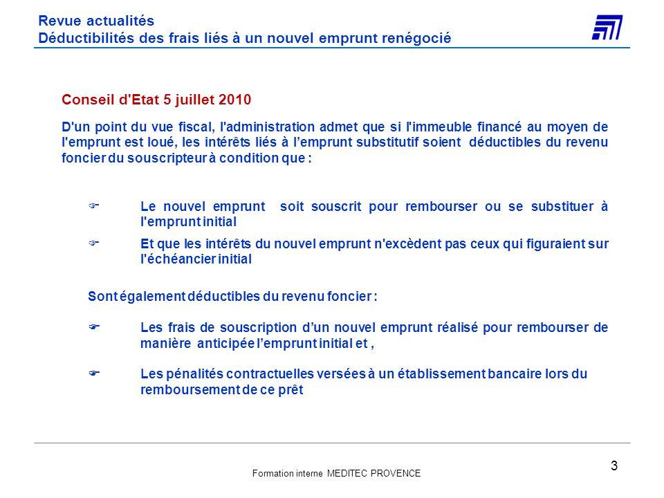 Revue actualités Déductibilités des frais liés à un nouvel emprunt renégocié