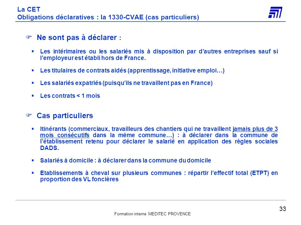 La CET Obligations déclaratives : la 1330-CVAE (cas particuliers)