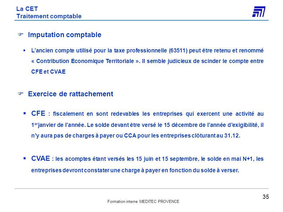 La CET Traitement comptable