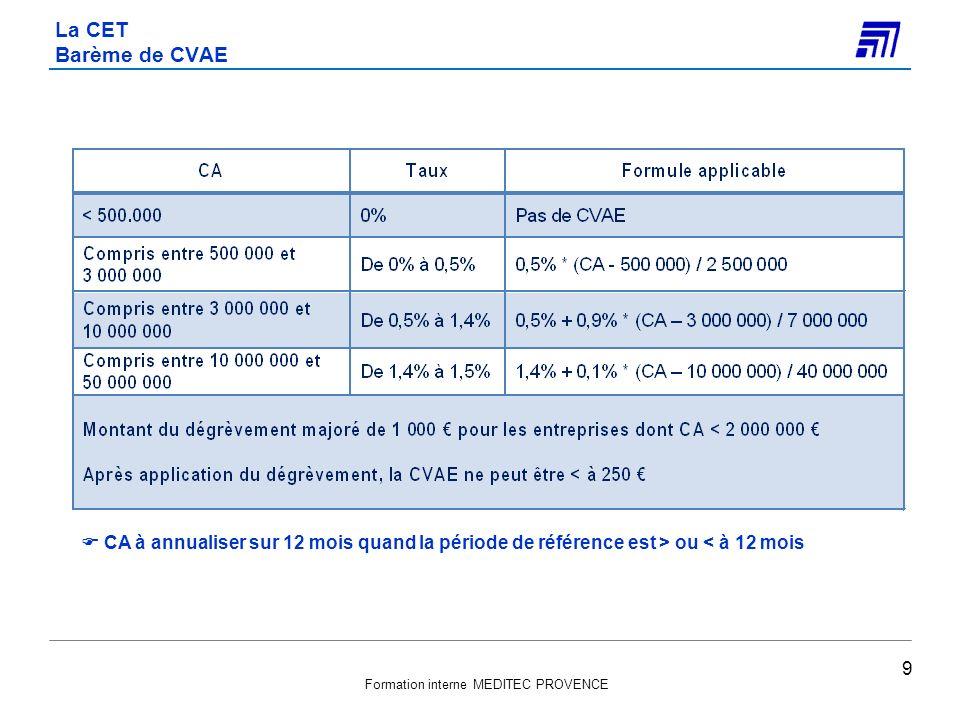 La CET Barème de CVAE  CA à annualiser sur 12 mois quand la période de référence est > ou < à 12 mois.