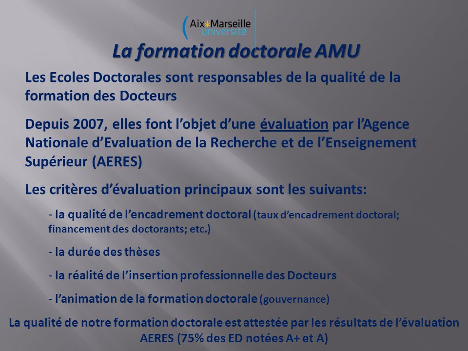 La formation doctorale AMU