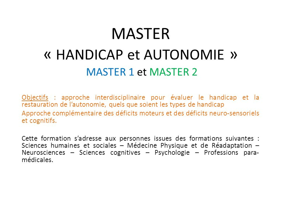 MASTER « HANDICAP et AUTONOMIE »