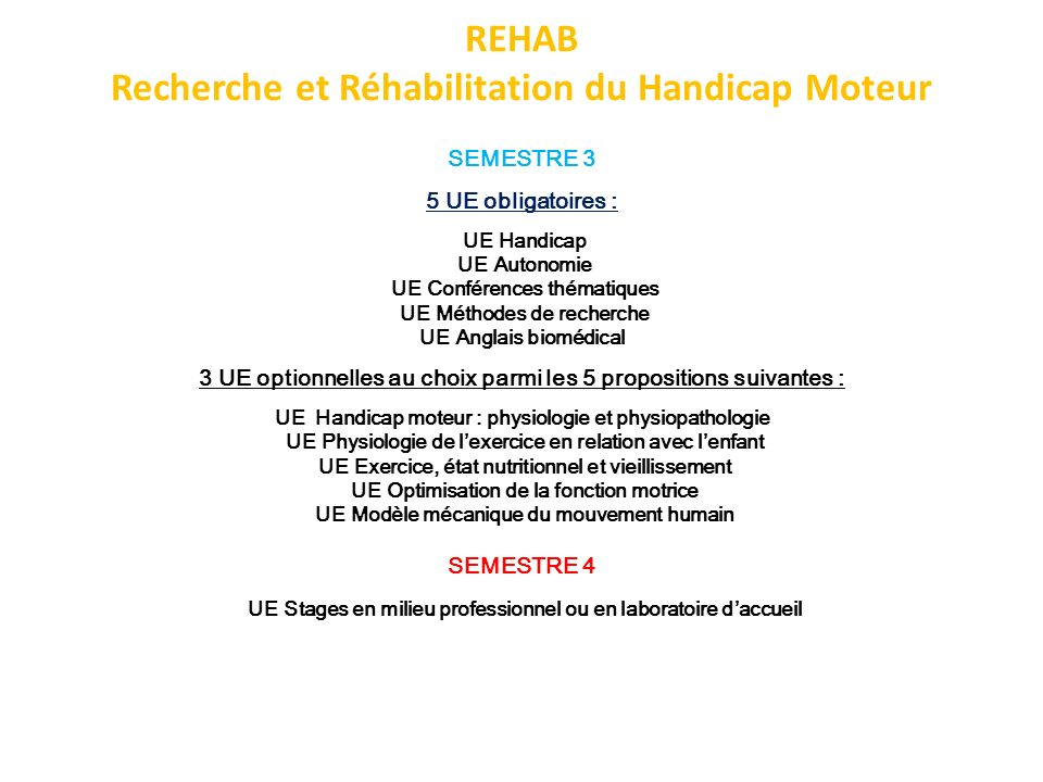 REHAB Recherche et Réhabilitation du Handicap Moteur