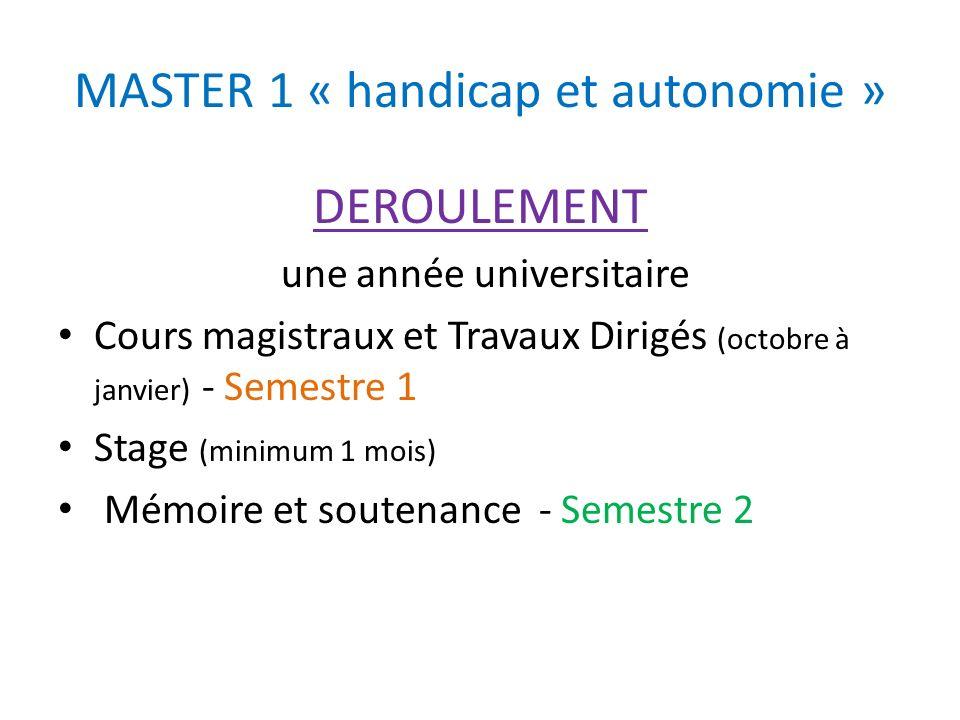 MASTER 1 « handicap et autonomie »