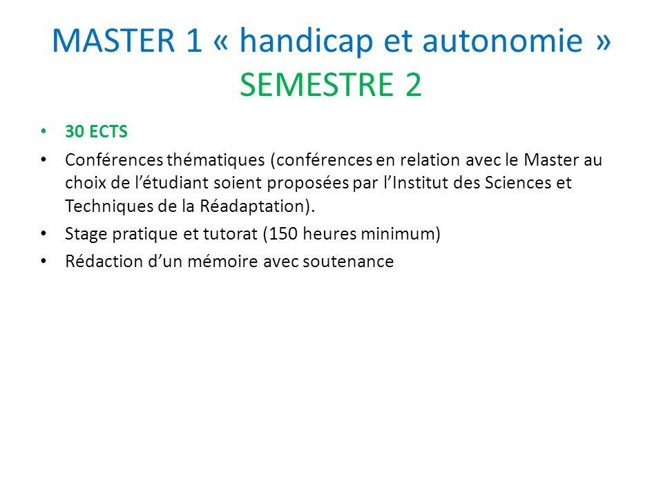 MASTER 1 « handicap et autonomie » SEMESTRE 2