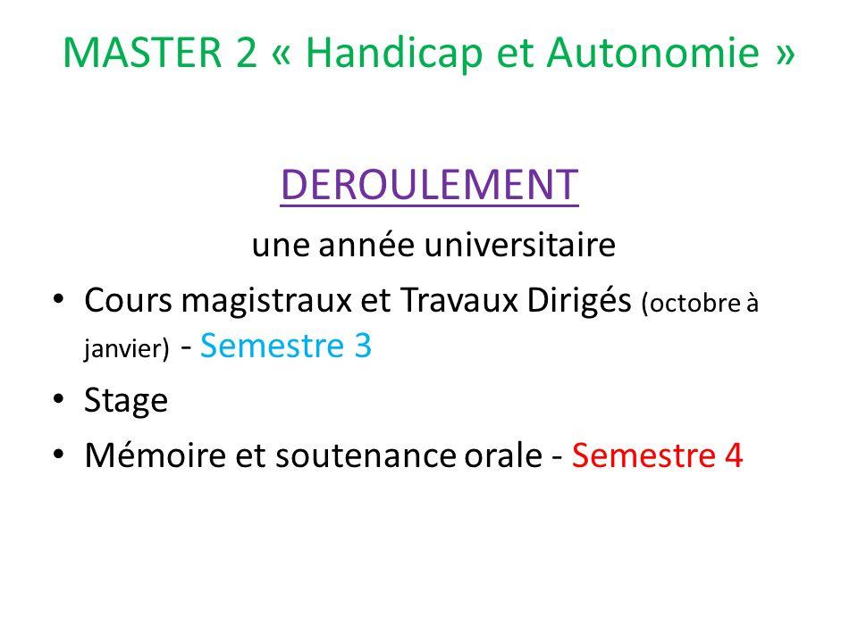 MASTER 2 « Handicap et Autonomie »