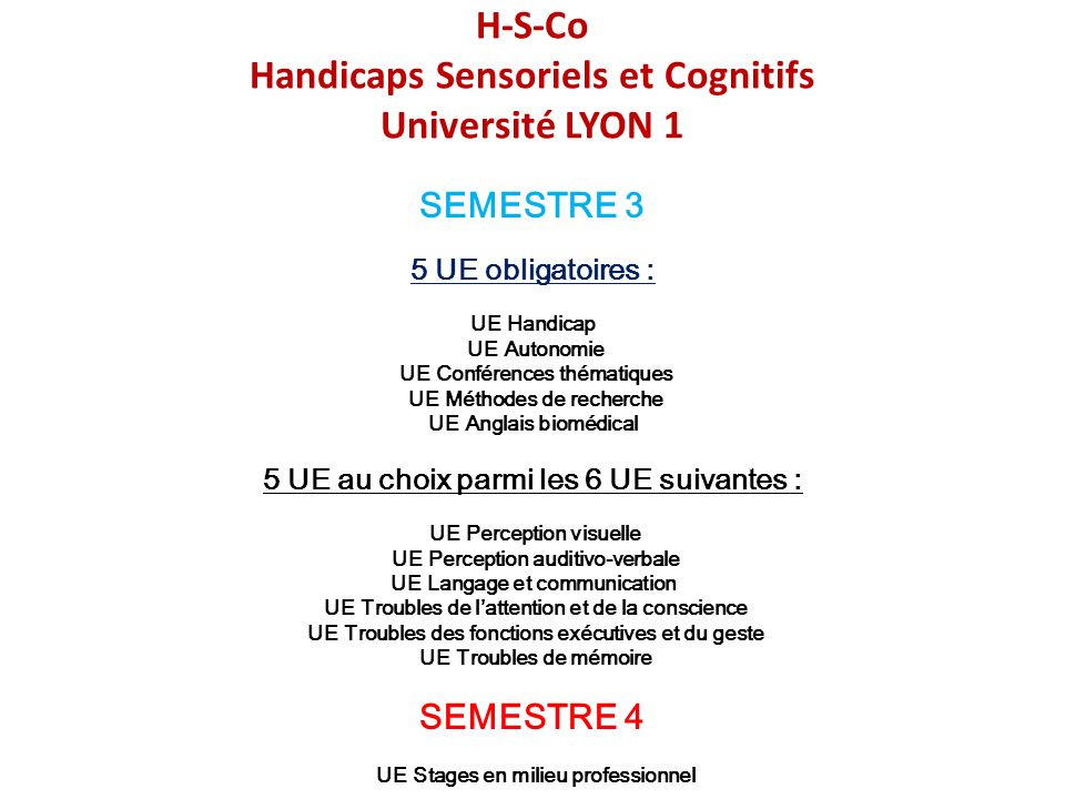H-S-Co Handicaps Sensoriels et Cognitifs Université LYON 1