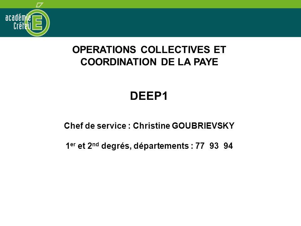 DEEP1 OPERATIONS COLLECTIVES ET COORDINATION DE LA PAYE