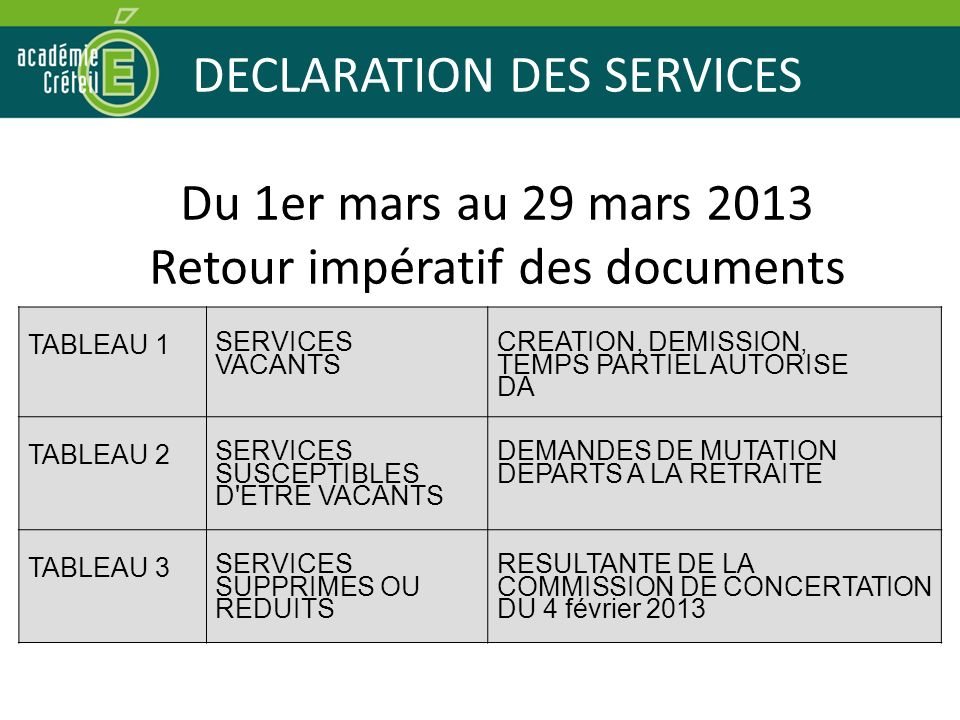 DECLARATION DES SERVICES