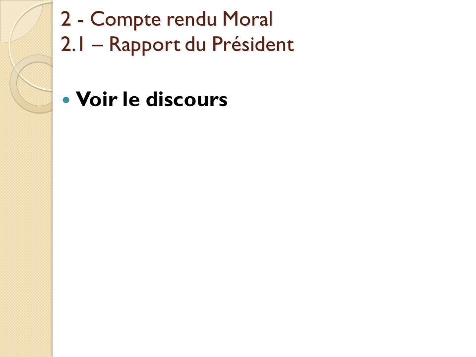 2 - Compte rendu Moral 2.1 – Rapport du Président
