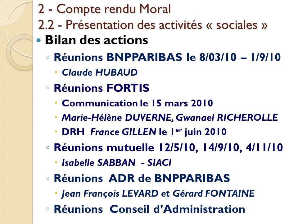 2 - Compte rendu Moral 2.2 - Présentation des activités « sociales »