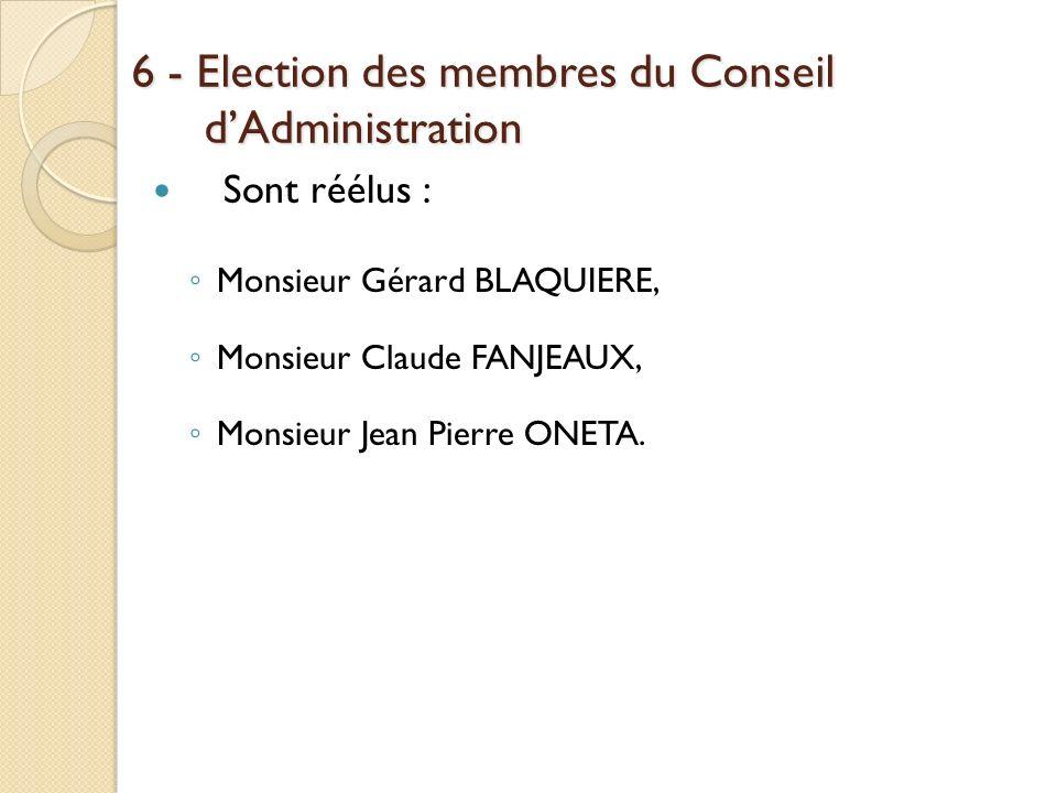 6 - Election des membres du Conseil d'Administration