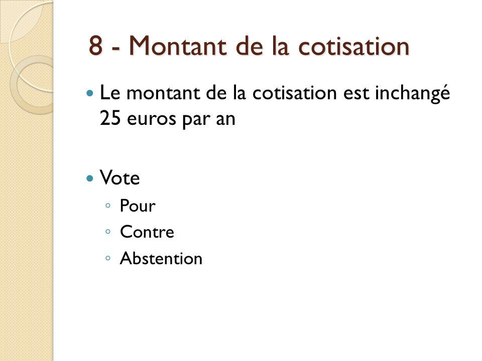8 - Montant de la cotisation