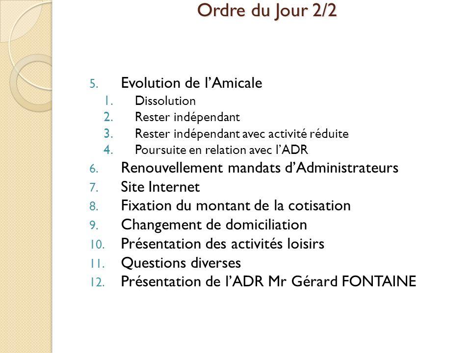 Ordre du Jour 2/2 Evolution de l'Amicale