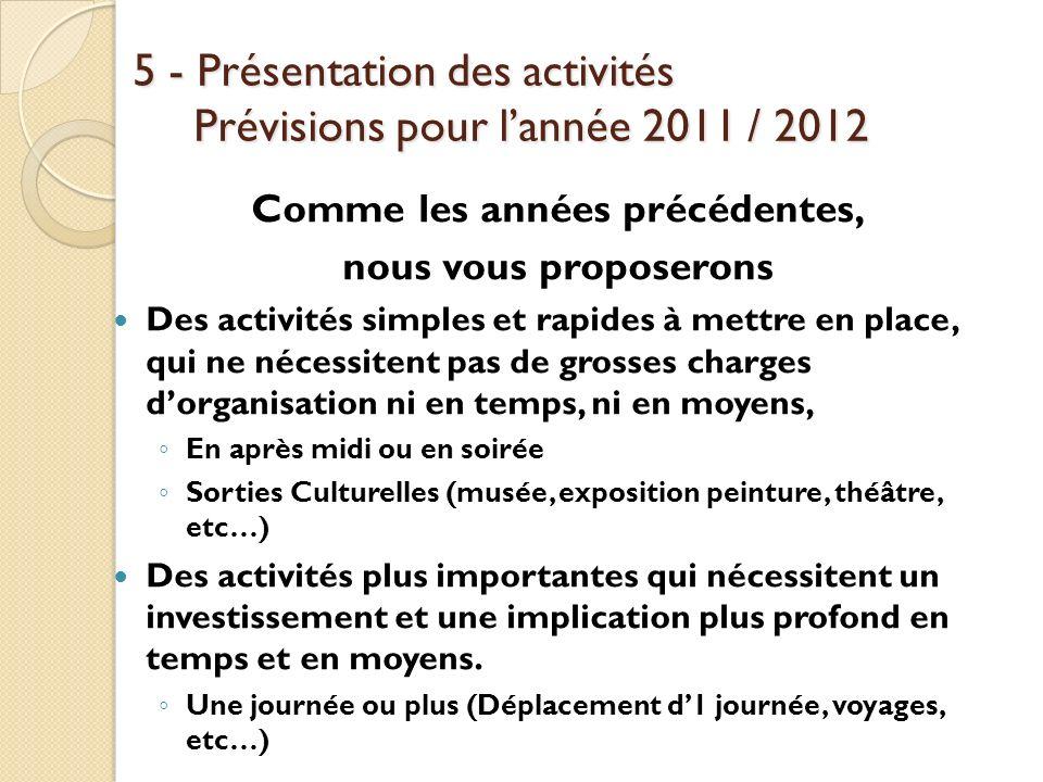 5 - Présentation des activités Prévisions pour l'année 2011 / 2012