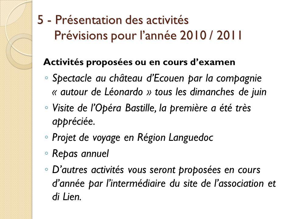 5 - Présentation des activités Prévisions pour l'année 2010 / 2011