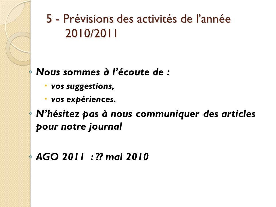 5 - Prévisions des activités de l'année 2010/2011