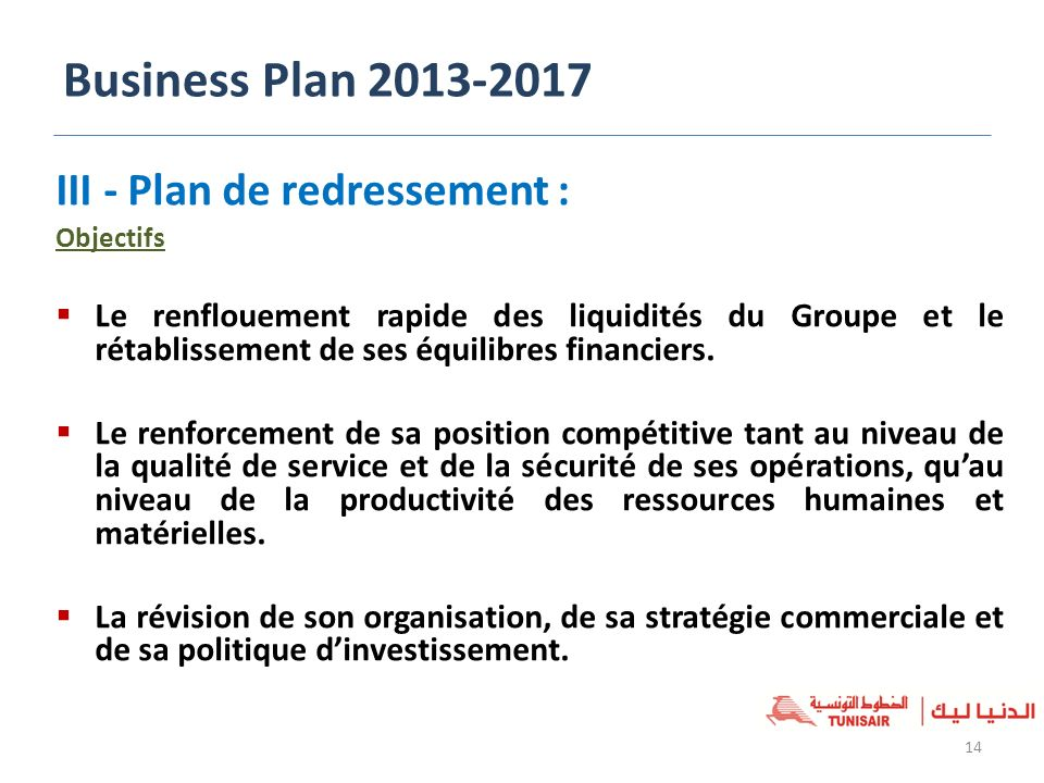 Business Plan III - Plan de redressement :