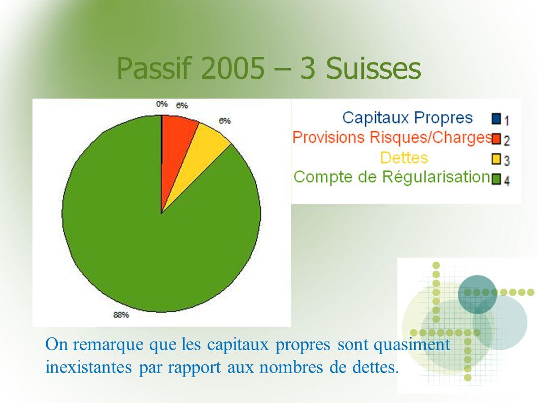 Passif 2005 – 3 SuissesOn remarque que les capitaux propres sont quasiment inexistantes par rapport aux nombres de dettes.