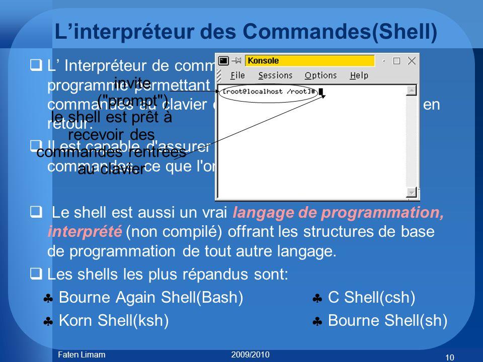 L'interpréteur des Commandes(Shell)