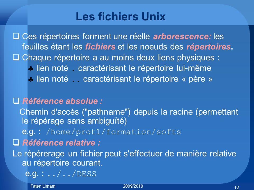 Les fichiers Unix Ces répertoires forment une réelle arborescence: les feuilles étant les fichiers et les noeuds des répertoires.