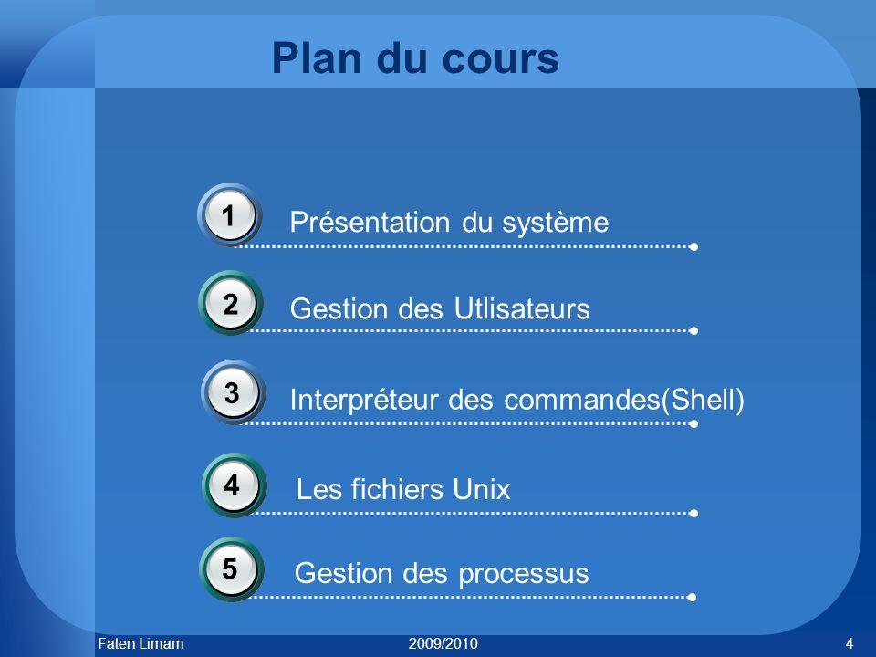 Plan du cours 1 Présentation du système 2 Gestion des Utlisateurs 3