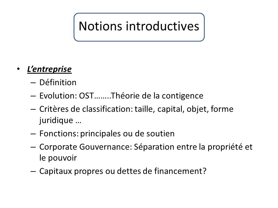 Notions introductives