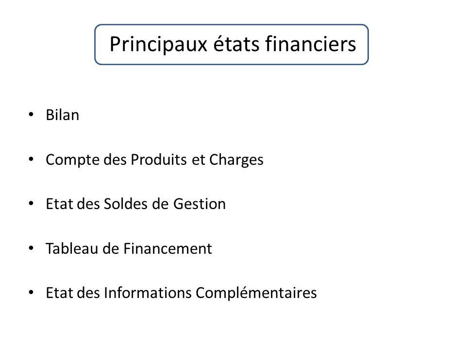 Principaux états financiers
