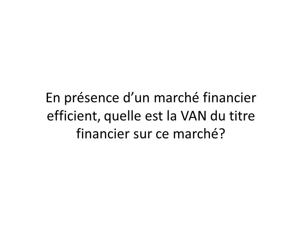 En présence d'un marché financier efficient, quelle est la VAN du titre financier sur ce marché
