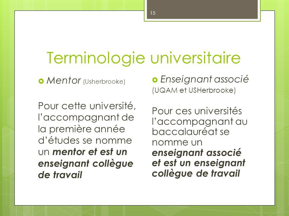 Terminologie universitaire