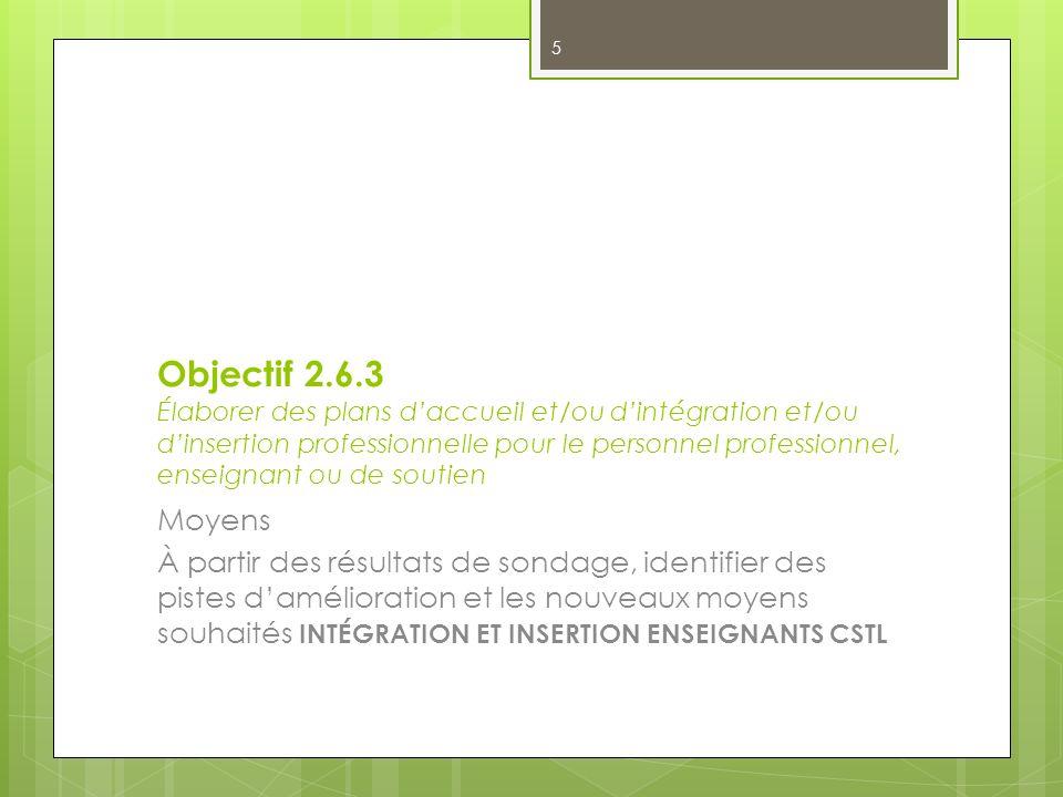 Objectif 2.6.3 Élaborer des plans d'accueil et/ou d'intégration et/ou d'insertion professionnelle pour le personnel professionnel, enseignant ou de soutien