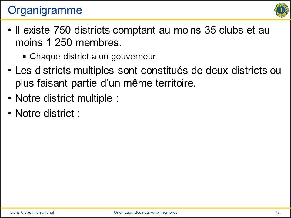 Organigramme Il existe 750 districts comptant au moins 35 clubs et au moins 1 250 membres. Chaque district a un gouverneur.