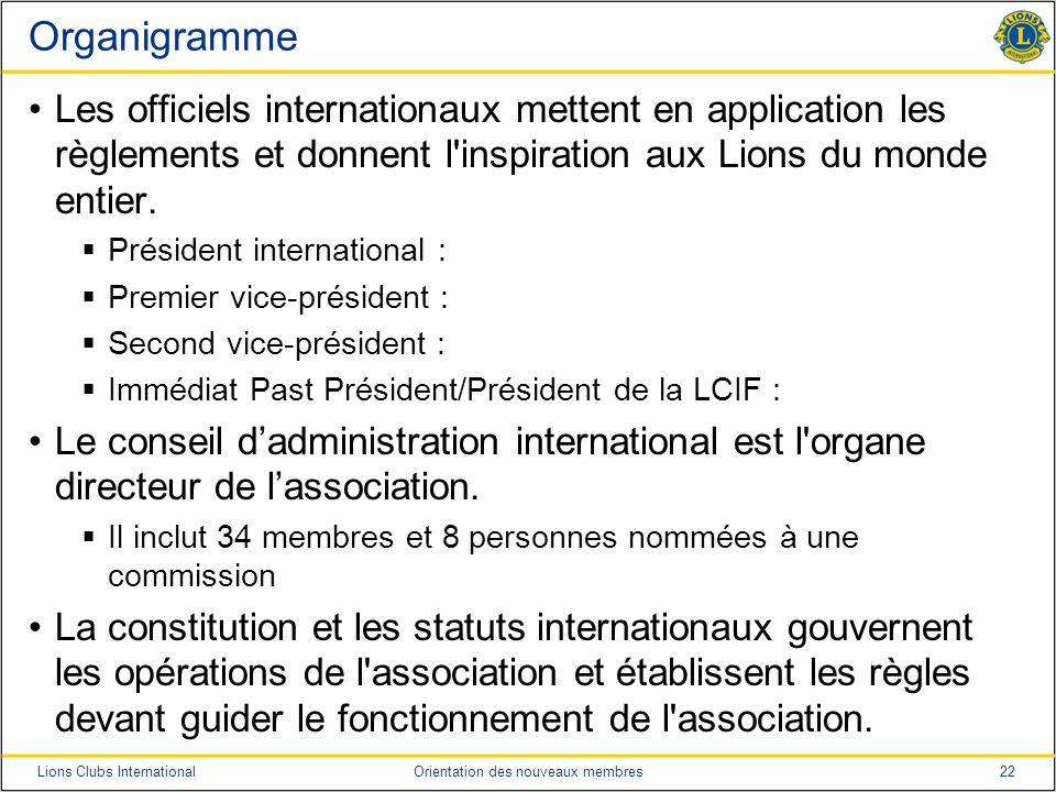 Organigramme Les officiels internationaux mettent en application les règlements et donnent l inspiration aux Lions du monde entier.