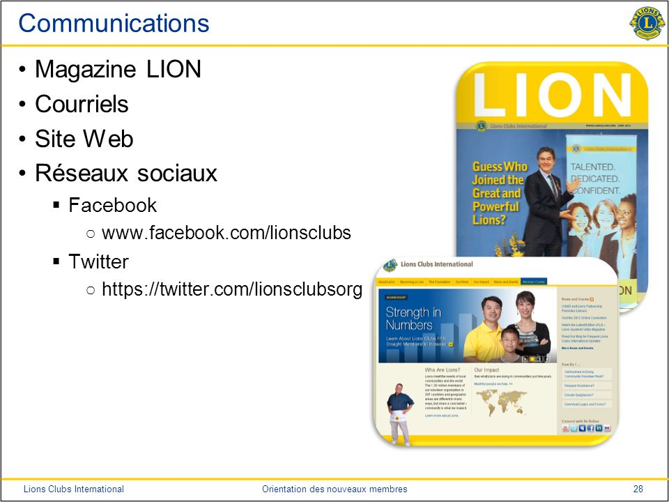 Communications Magazine LION Courriels Site Web Réseaux sociaux
