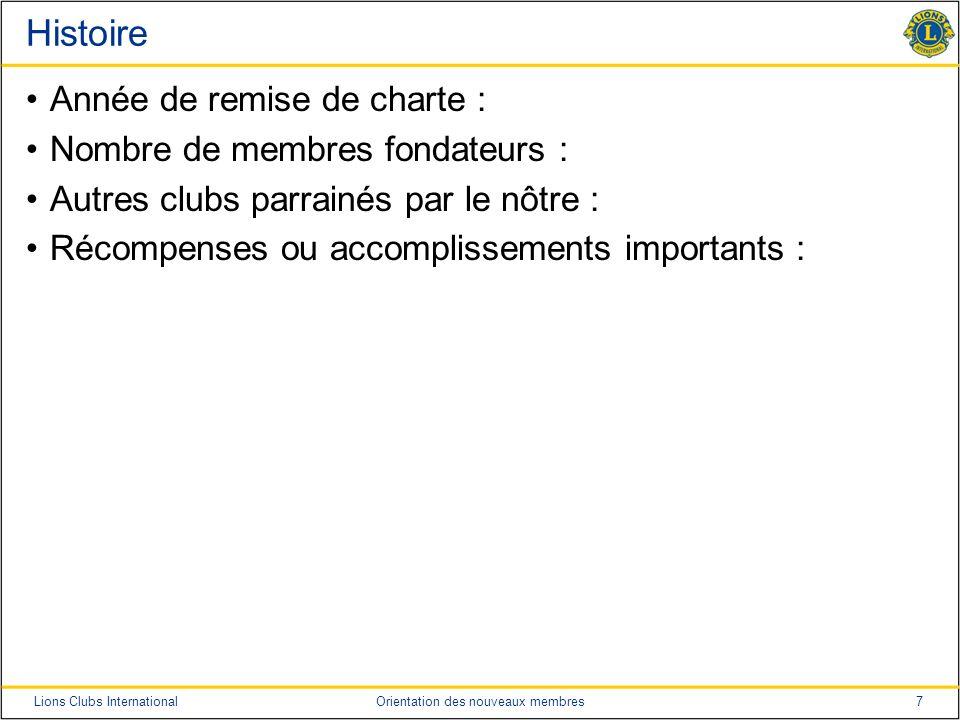 Histoire Année de remise de charte : Nombre de membres fondateurs :