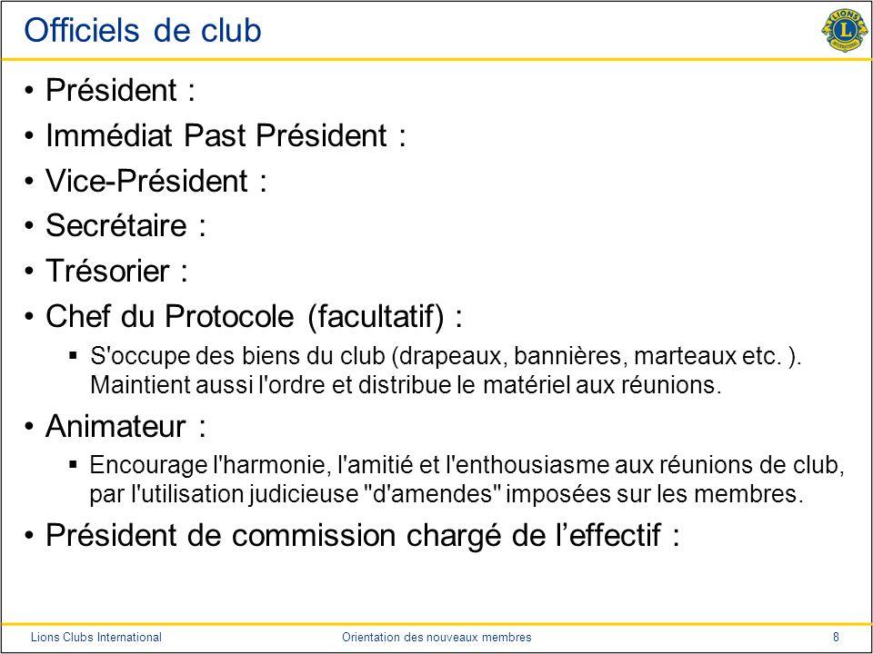 Officiels de club Président : Immédiat Past Président :