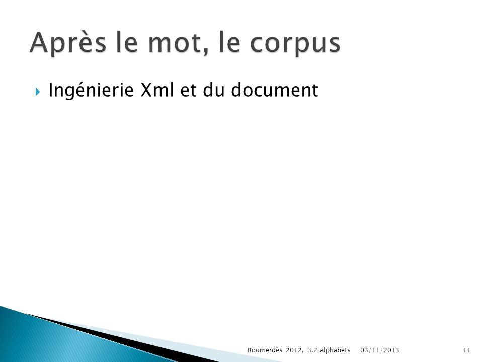 Après le mot, le corpus Ingénierie Xml et du document