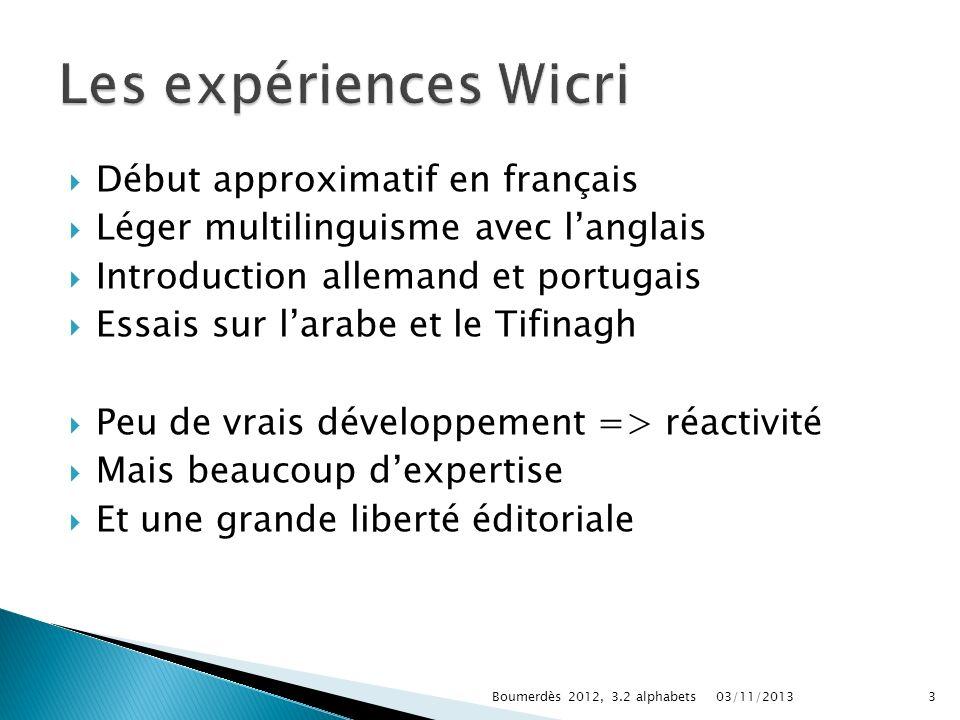 Les expériences Wicri Début approximatif en français
