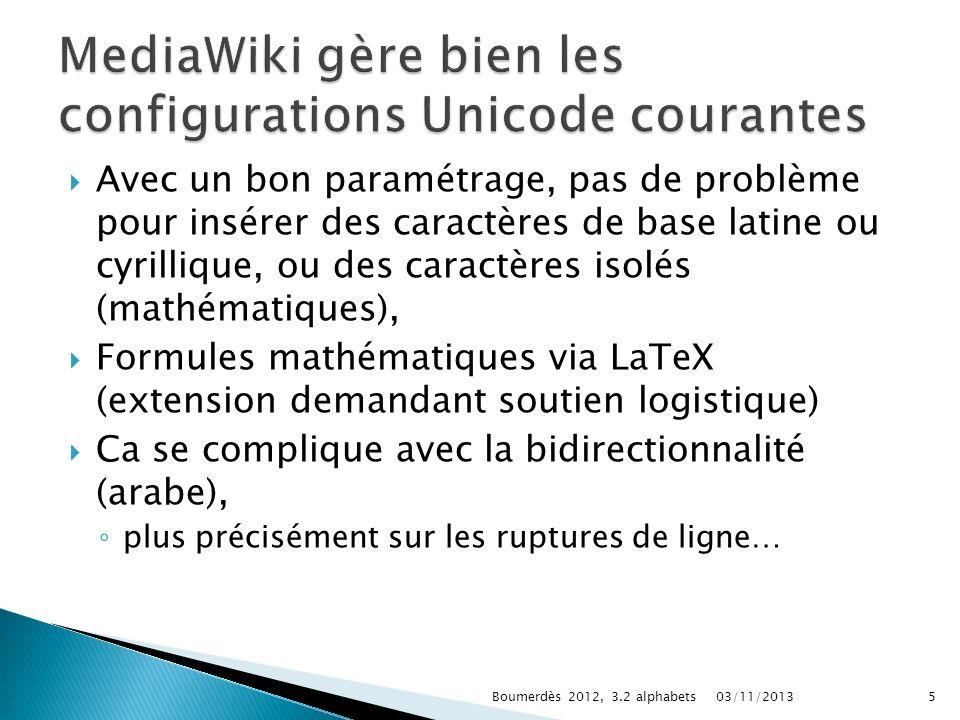 MediaWiki gère bien les configurations Unicode courantes